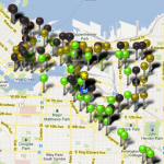 Screen shot of GPS app showing bike courier tracks