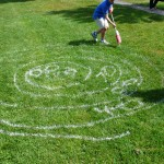 The scoring system for this kid's target drawing included negative numbers. Vancouver Draw Down